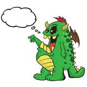 monster with thought bubble - stock illustration