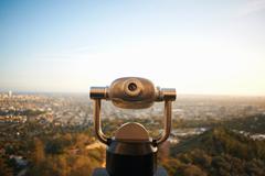 Coin-operated binoculars overlooking Hollywood, Los Angeles, USA Kuvituskuvat