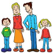 Parents and kids Stock Illustration