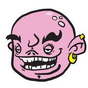 pink cartoon face - stock illustration