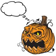 Pumpkin head with thought bubble Stock Illustration