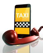 3d mobile taxi, telephone receiver - stock illustration