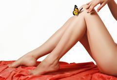 3d butterfly on women's silky legs - stock photo