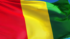 Guinea flag in slow motion seamlessly looped with alpha Stock Footage