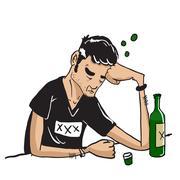 sad man drinking isolated on white - stock illustration