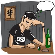 sad man with thought bubble drinking - stock illustration