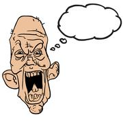 Screaming old man with thought bubble Stock Illustration