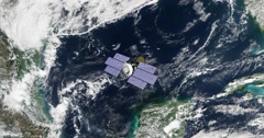 Top view of Earth-observing CloudSat spacecraft in orbit above the Gulf Of Mexic Stock Footage