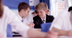 4k, Two classmates chatting in the classroom. Slow motion. Stock Footage