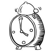Simple black and white alarm clock Stock Illustration