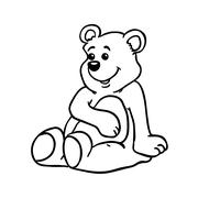 simple black and white bear - stock illustration
