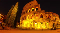 The colloseum of Rome at night Stock Footage