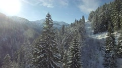 Aerial view of snow-capped mountains Stock Footage