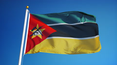 Mozambique flag in slow motion seamlessly looped with alpha Stock Footage