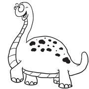 simple black and white dinosaur - stock illustration