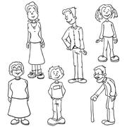 simple black and white family set - stock illustration