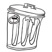 simple black and white garbage can - stock illustration