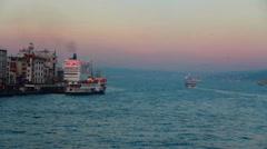 Turkey istanbul city sea sunset Stock Footage