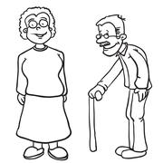 Simple black and white grandparents Stock Illustration