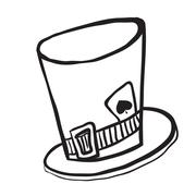 Simple black and white mad hatters hat Stock Illustration