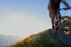 Mountain biker on a coastal track. Stock Photos