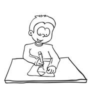simple black nad white little boy drawing a house - stock illustration