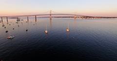 Aerial of Newport Bridge in Newport, Rhode Island Stock Footage