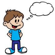 smiling boy with thought bubble - stock illustration