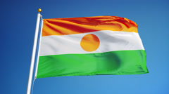 Niger flag in slow motion seamlessly looped with alpha Stock Footage