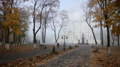 Park of Russian Orthodox Church in the autumn Stock Footage