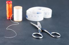 Closeup scissor nail hobby spool textile - stock photo