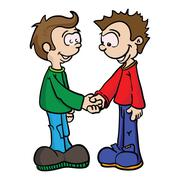 two boys shaking hands.eps - stock illustration