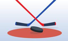 Ice Hockey Player with Stick and Puck. Vector Illustration Stock Illustration