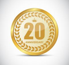 Template Logo 20 Years Anniversary Vector Illustration - stock illustration