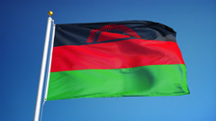 Malawi flag in slow motion seamlessly looped with alpha Stock Footage
