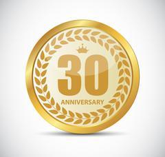 Template Logo 30 Years Anniversary Vector Illustration Stock Illustration