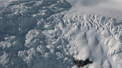 Heavily Crevased Glacier Icefall Aerial Stock Footage