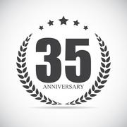 Template Logo 35 Years Anniversary Vector Illustration - stock illustration