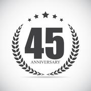 Template Logo 45 Years Anniversary Vector Illustration Stock Illustration