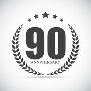Template Logo 90 Years Anniversary Vector Illustration Stock Illustration