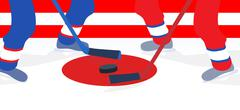 Ice Hockey Player with Stick and Puck. Vector Illustration - stock illustration