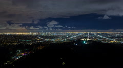Downtown Los Angeles and Griffith Observatory Night Timelapse Stock Footage
