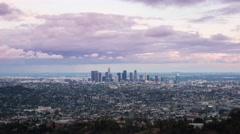 Downtown Los Angeles Day To Night From Griffith Park Stock Footage