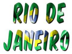 Rio de Janeiro Word With Flag Texture Piirros