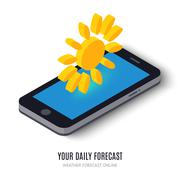 Online daily forecast concept isometric icon - stock illustration
