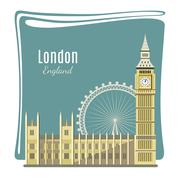 London landmarks detailed illustration Stock Illustration