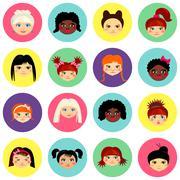 Multinational female face avatar profile heads - stock illustration