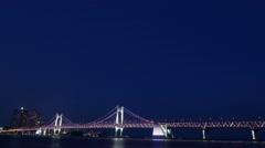 4K, Time lapse, Background, Gwangan Bridge from evening to night in Busan, Stock Footage
