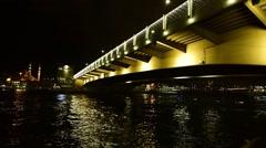 Istanbul, lightened low bridge Galata, night, pan shot Stock Footage