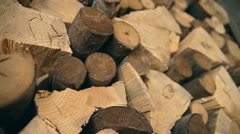 A background. A laying of chopped firewood Stock Footage